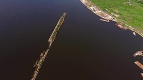 Breakwater on the river stock footage