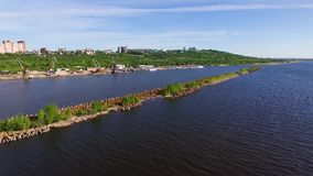 Breakwater on the river stock video