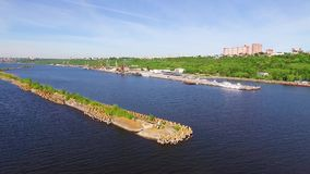 Breakwater on the river stock video footage