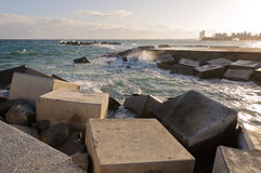 Breakwater rocks Stock Photo