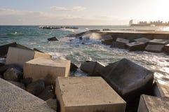 Breakwater rocks. On the Barcelona coast. Spain Stock Photo