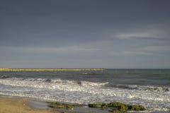 Breakwater in Santa Pola Royalty Free Stock Images