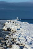 Breakwater at sea bay. Outside was cold -15degress in Latvia, bolderaja breakwater Stock Image