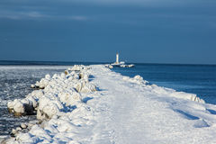 Breakwater at sea bay. Outside was cold -15degress in Latvia, bolderaja breakwater Royalty Free Stock Photography