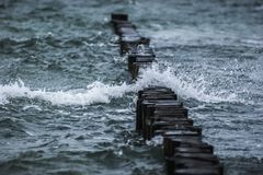 Breakwater, Sea, Wave, Water, Spray Stock Photos