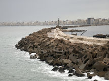 Breakwater in the seaport, Alexandria, Royalty Free Stock Photo