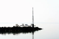 Breakwater silhouette at Lake Balaton, Hungary Royalty Free Stock Photo