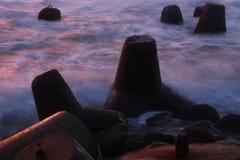 breakwater on slow speed stock image