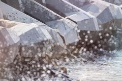 Breakwater and spray Royalty Free Stock Photography
