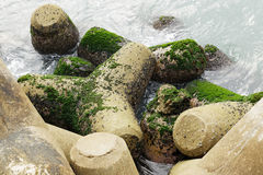 Breakwater. Stone close up , background, wallpaper Royalty Free Stock Photography