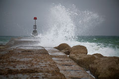 Breakwater in the storm Royalty Free Stock Image