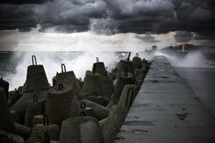 Breakwater at storm Royalty Free Stock Photo