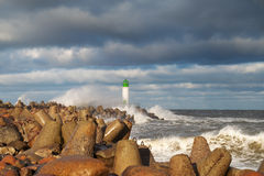 Breakwater in storm. Royalty Free Stock Image