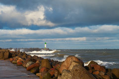 Breakwater in storm. Royalty Free Stock Photography