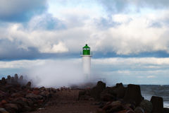 Breakwater in storm. Royalty Free Stock Images