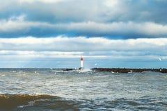 Breakwater in storm. Royalty Free Stock Photos
