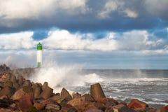 Breakwater in storm. Royalty Free Stock Image