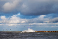 Breakwater in storm. Stock Photo