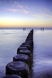 Breakwater at sunset, Baltic Sea Stock Photo