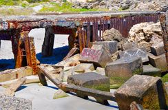 Breakwater Tagged and Rusted: Fremantle, Western Australia stock photo