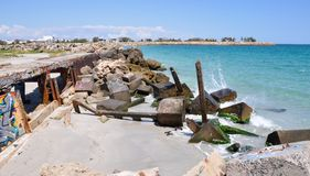 Breakwater with Tagging on the Indian Ocean: Fremantle, Western Australia stock photo