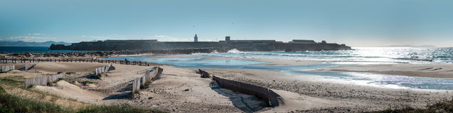 Breakwater in Tarifa beach Royalty Free Stock Image