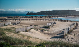 Breakwater in Tarifa beach Royalty Free Stock Image