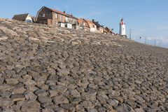 Breakwater of Urk ,fishing village in the Netherlands Stock Image