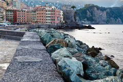 Breakwater in the Village of Camogli Stock Image