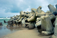 Breakwaters. On the coast of the Baltic Sea royalty free stock photo