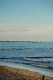 Breakwaters in the Baltic sea over the sunset Royalty Free Stock Photos