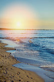Breakwaters in the Baltic sea over the sunset Royalty Free Stock Image