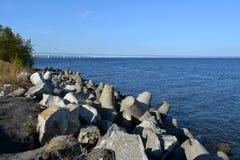 Breakwaters on the bank of Volga river. Summer scene.  royalty free stock photos