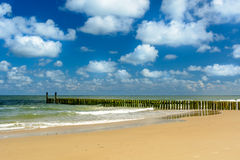 Breakwaters on the beach in Domburg Stock Photo