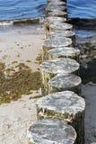 Breakwaters on the beach in Kolobrzeg Royalty Free Stock Photo