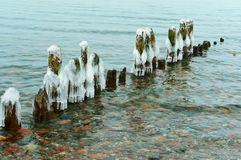 The ice on the breakwater in the sea, breakwaters in the ice. Breakwaters in the ice, the ice on the breakwater in the sea royalty free stock photography