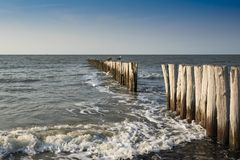 Breakwaters in the North Sea, Cadzand Bad, Holland royalty free stock photo
