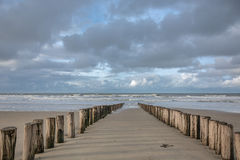 Breakwaters. North Sea in the southern province of Zeeland is one of the most beautiful places in the Netherlands Royalty Free Stock Images