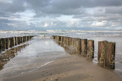 Breakwaters. North Sea in the southern province of Zeeland is one of the most beautiful places in the Netherlands Stock Images