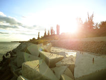 Breakwaters. Sunset on the Volga River royalty free stock photos