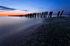 Breakwaters at Twilight. Baltic Sea, Russia stock photo