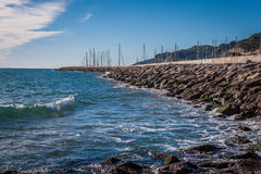 Breakwaves. Sea views next the beach and the breakwater Royalty Free Stock Photography