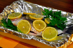 Bream baked. Ready to bake stock images