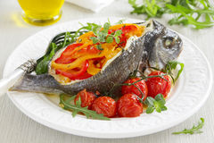 Bream baked fish stuffed Stock Image