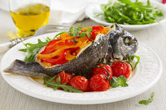 Bream baked fish stuffed Royalty Free Stock Image