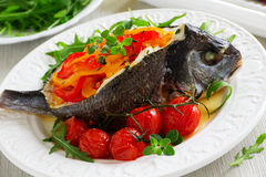 Bream baked fish stuffed Stock Photo