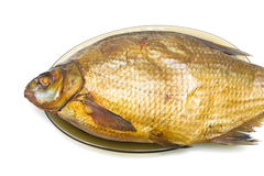 Bream fish smoked closeup on a white background. Royalty Free Stock Photography