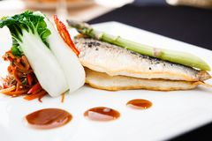 Bream fish with vegetables Stock Images
