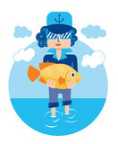 Bream man sea fish vector Royalty Free Stock Image