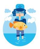 Bream man sea fish vector. Travel Stock Photos